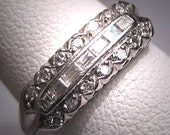 Antique Platinum Diamond Wedding Ring Band Vintage 3Row