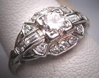 Antique Diamond Wedding Ring Vintage 1920 Art Deco 18K