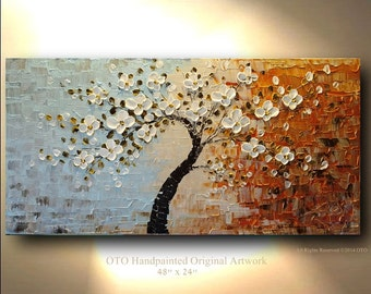 ORIGINAL 48x24 Tree White Flower Oil Painting Abstract Blue Brown Gold Canvas Ready to Hang Textured Art Acrylic Landscape Artwork by OTO