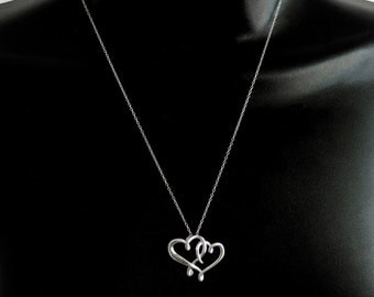 """Double Heart """"SISTER"""" Pendant 925 Sterling Silver 18"""" Chain #2096"""
