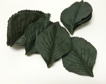 Artificial Leaves - 30 Dark Green Hydrangea Leaves - Artificial Greenery