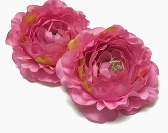 Silk Flower - TWO Large PINK Ruffle Ranunculus - 4 Inches - Artificial Flowers
