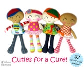 Chemotherapy Doll Sewing Pattern PDF - Wigs Hats Headbands Head Scarfs - Cuties for a Cure Fundraising for Cancer Research
