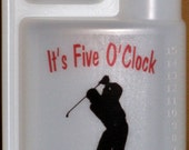 Flask Easy Pour Measure Built in 1oz. Shot Glass Alcohol 16oz. Party Bottle Male Golfer It's Five O'Clock  Red Black