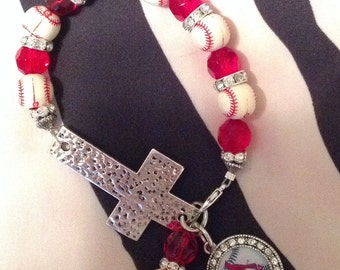 St. Louis Cardinals Baseball Cross Bracelet