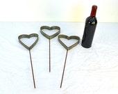 "RING ART - ""Jardin"" - Wine Barrel Ring Garden Hearts - Set of 3 - 100% Recycled"