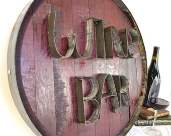 """RONDA - """"WINE BAR"""" - Authentic Wine Barrel Head  Sign - 100% recycled"""