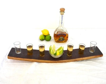 "SHOT GLASS - ""Caballito"" - Wine Barrel Serving Tray - 100% recycled"