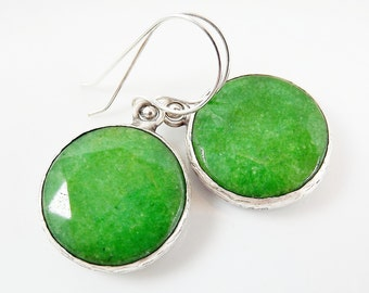 Green Round Gemstone Earrings - Jade - Matte Silver plated with Sterling Silver Earwire