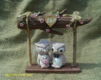 Rustic Wedding owls on a log cake topper