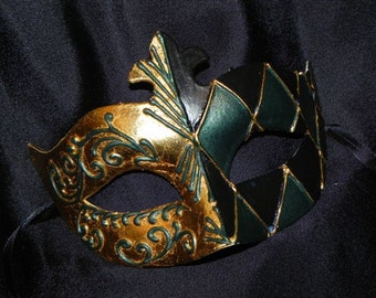 Hunter Green, Black and Gold Men's Mask