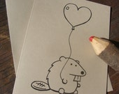 Beaver Card - Beaver with Heart Balloon - Woodland Critters