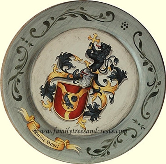 Family Crest Plate  - Coat of Arms Herladic Art on wooden plate