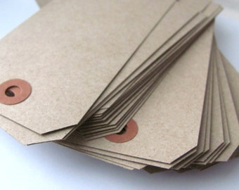 "100 Recycled Kraft Brown Tags - Large Shipping / Parcel Tags - Blank - Cardstock - 4 3/4"" x 2 3/8"" - Eco Friendly Packaging - Plain - 4.75"""