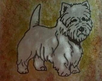 Custom etched metal pet portrait