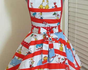 Dr Seuss and friends Apron with a hint of red - Full of Twirl Flounce