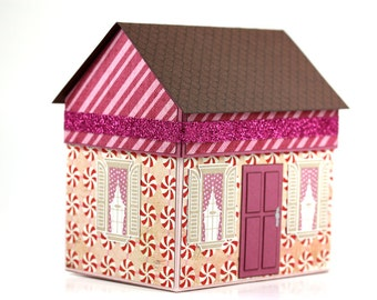 Handmade Holiday Paper House Gift Box - Sparkly Peppermint - Christmas - Hostess Gift - Homemade Goods - Small Gift Box - Unique Gift Wrap