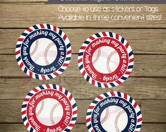 Baseball Themed Birthday Party Stickers or Thank You Tags