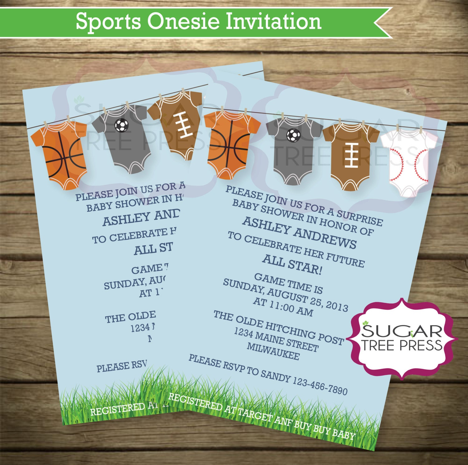 35 sports baby shower invitations light blue with grass