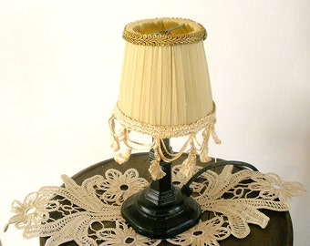 Shabby chic lamp, living room lights, lace table lamp in antique fringe, Fabric lamp, Country French decor, Romantic elegant lamp.