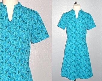 Vintage 60s dress TURQUOISE MOD floral short sleeve - M/L