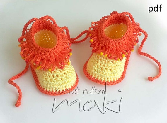 Crochet Pattern Baby Booties Loop Stitch With Beads By
