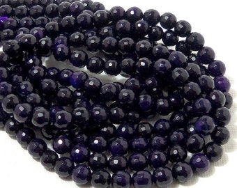Agate, Dark Purple, Round, Faceted, 6mm, Small, Fired Agate, Gemstone Beads, Full Strand, 60pcs - ID 1784