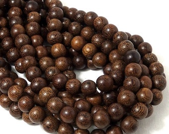 "Madre de Cacao Wood, Dark, 10mm, Round, Smooth, Large, Natural Wood Beads, Full 16"" Strand, 42pcs - ID 1649-DK"