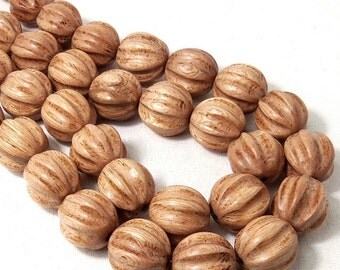 Rosewood, Hand Carved Ball, Grooved, 20mm, Round, Natural Wood Beads, Large, Big, 10pcs - ID 1878