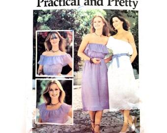 70s Butterick 5455 Strapless Dress or Off the Shoulder or On Shoulder Boho Peasant Dress Size 12 14 Bust 34 36