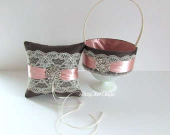 Ring Pillow and Flower Girl Basket for Wedding Custom Made with sparkly brooches
