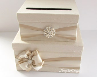Card box for wedding custom gift card box - Cream and Champagne