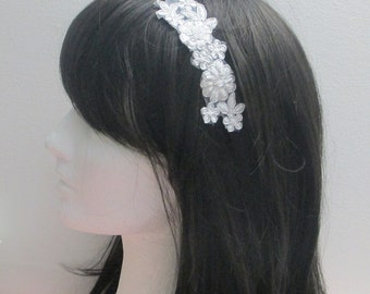 Silver Bridal Headband, Lace Bridal Headband, Bridal Headband Headpiece, Wedding Hair Accessories, Wedding Headpiece, Bridesmaid Hair Band