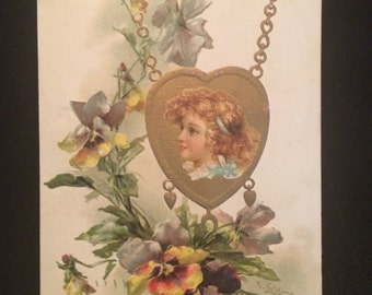 Catherine Klein Postcard - Girl - Pansies - Heart