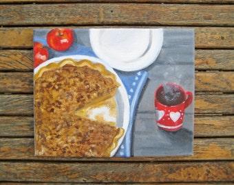 Apple Pie Painting - Fall Painting - Fall Art - Fall Decor - Autumn Art - Autumn Painting - Original Painting - Oil Painting - Original Art