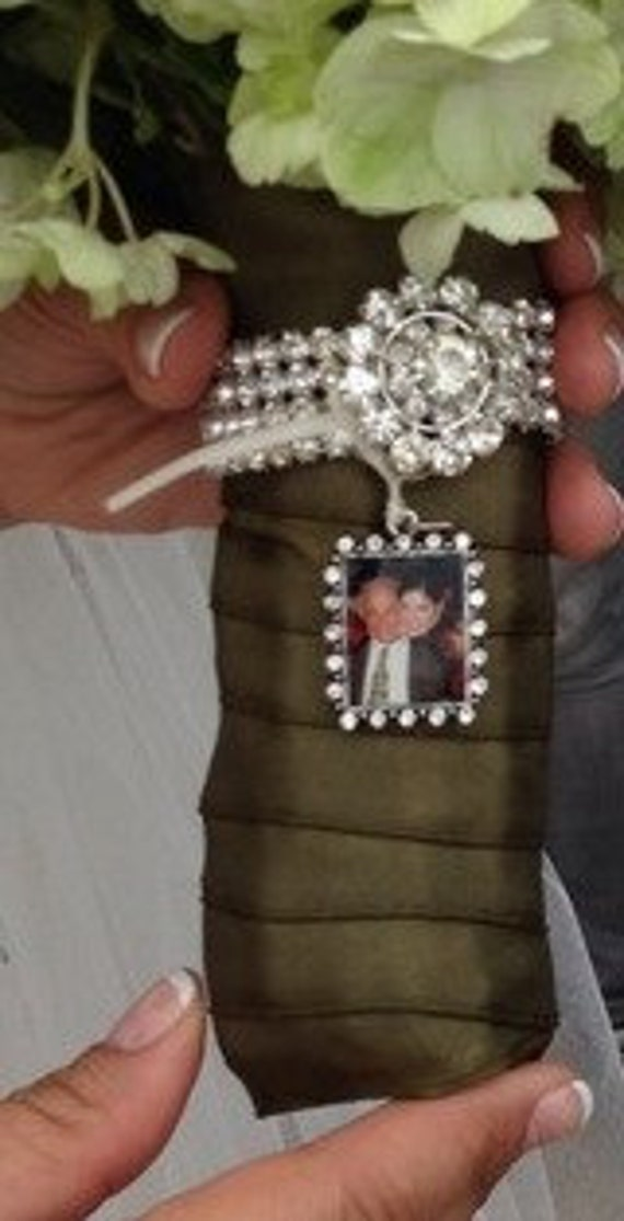 Custom Photo Jewelry Pendant with crystal frame great for bridal bouquet memorial charm