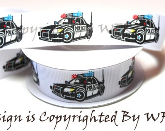 "Police, Police Car, Policeman, 7/8""  Grosgrain Ribbon - Wholesale Ribbon - Ribbon forBows, COPYRIGHT PROTECTED - Blue Lives Matter"