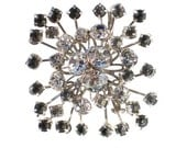 Vintage Rhinestone Brooch in Gray & White Signed By GALE on Rhodium Plated Setting - Big Elegant Formal Vintage Jewelry Rare GALE CREATIONS