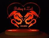 Dragon Love  Wedding Cake Topper  - Engraved & Personalized - Light Extra