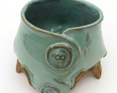 Teal Buttoned Creature Bowl