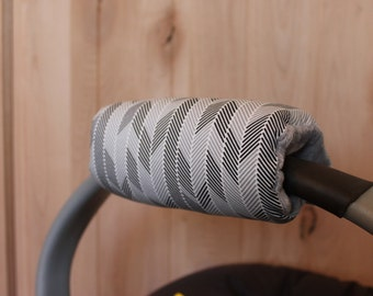 Infant Car Seat Padded Handle Cover Black and gray Arrows