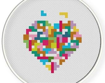 Instant Download,Free shipping,Cross stitch pattern, Cross-StitchPDF, Love ,heart Tetris,zxxc0052