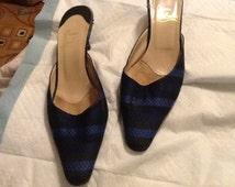 christian louboutin square-toe mules Blue denim yellow embroidery ...