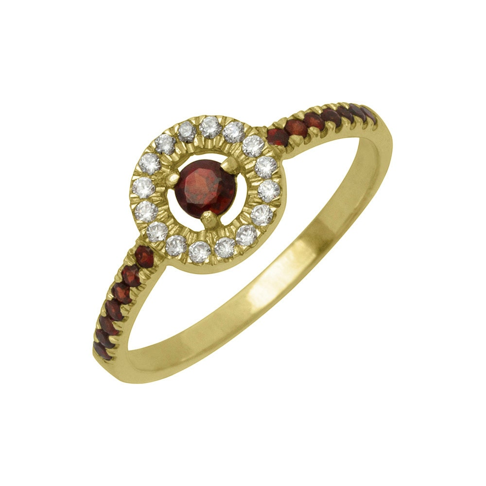 antique garnet engagement ring in 14k yellow gold