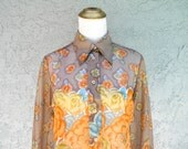 Vintage 70s Blouse - LADY MANHATTAN Sheer Flower Power Button Up Top w Psychedelic Floral Design in Orange, Blue, and Taupe - Size 8 Medium