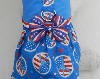Custom July 4th Patriotic Firework Flag Groovy PEACE SIGN Harness Dress with Bow. Perfect for your Cat, Dog or Ferret.