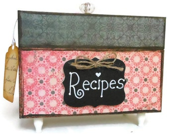 Recipe Box Black and Red Kitchen Storage Organizer