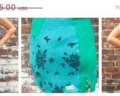 SALE 50 OFF Turquoise and black floral sweater skirt Recycled wool