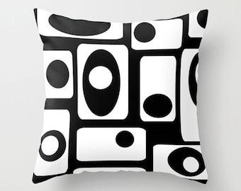 Black & White Throw Pillow, Modern Pillow, Geometric Pillow,   Mid Century Modern Pillow,  Mod Pillow, Retro Pillow, Mod Cushion