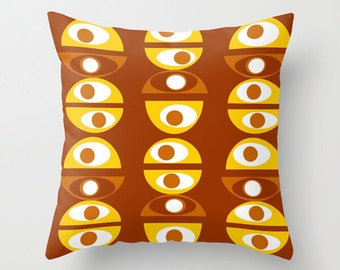 Throw Pillow Cover, Yellow & Brown Geometric Pillow Cover,MidCentury Modern Throw Pillow Cover,Cool Pillow Cover,Decorative Pillow Cover